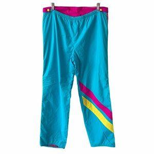 Vintage Neon Colour way Zip Up Track Pants Large
